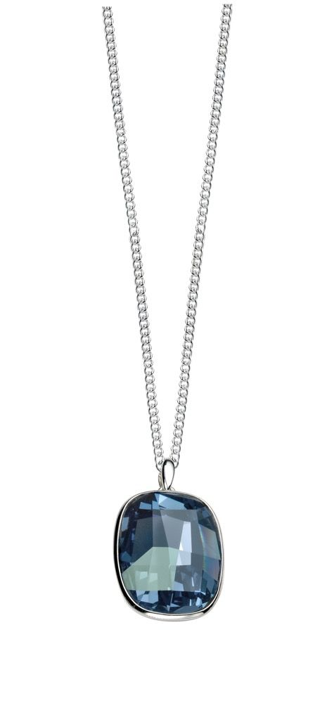 Sterling Silver Graphic Facet Denim Blue Crystal Pendant and Chain
