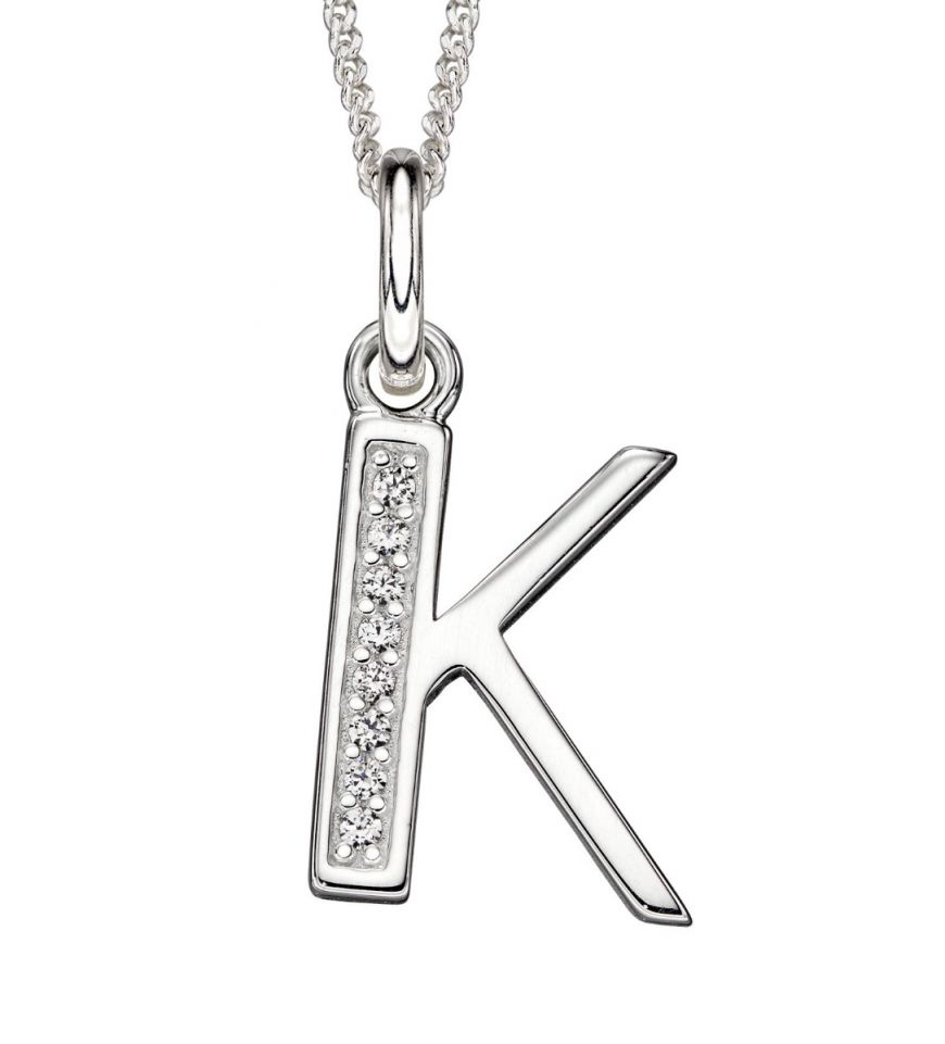 Sterling Silver Cubic Zirconia Initial K
