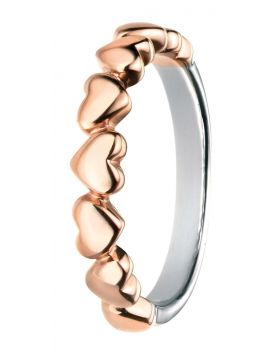 Sterling Silver & Rose Gold Multi Heart Ring