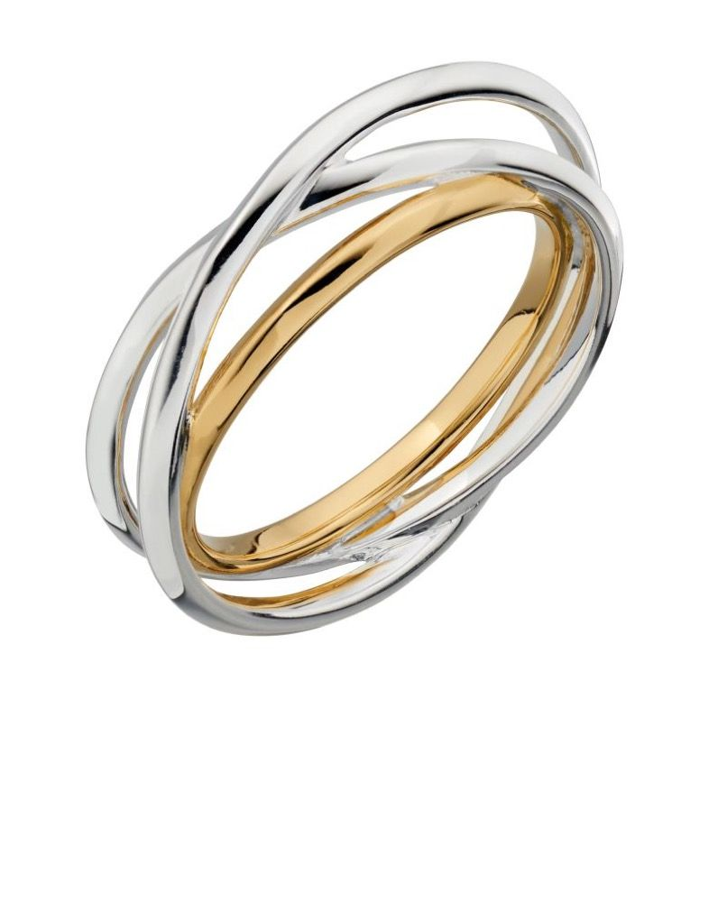 Sterling Silver and Yellow Gold Triple Ring