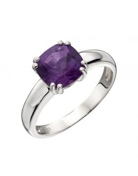 Sterling Silver Cushion Cut Amethyst Ring