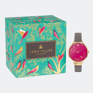 Sara Miller Pink Birds Watch Leather Strap