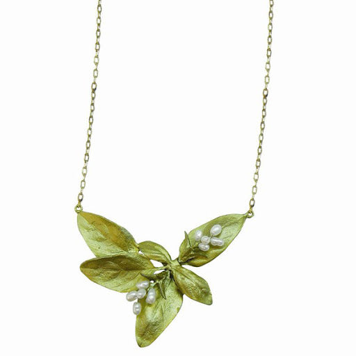 Handpainted Bronze Sweet Basil Necklace by Michael Michaud