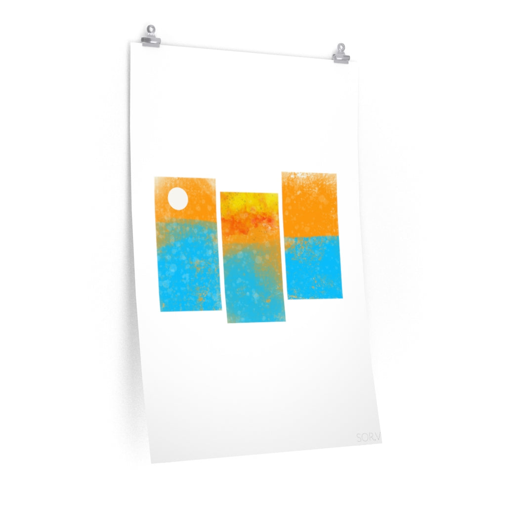 """Paneled Sunset"" Vertical Poster"