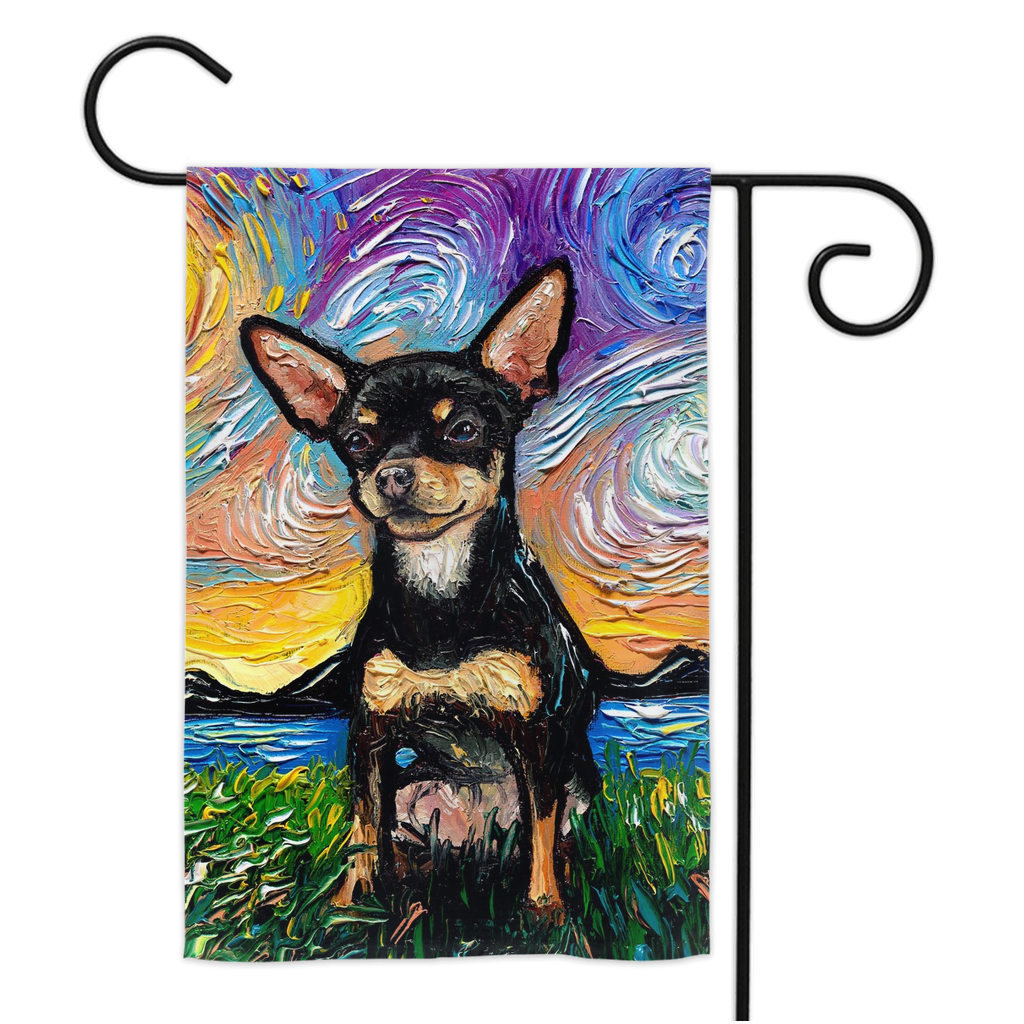 Chihuahua Night, Black and Tan Short Hair, Yard Flags