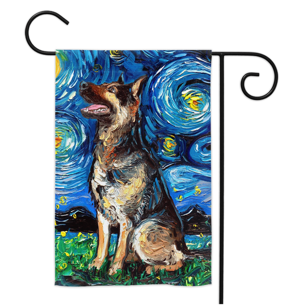 German Shepherd Night Yard Flags