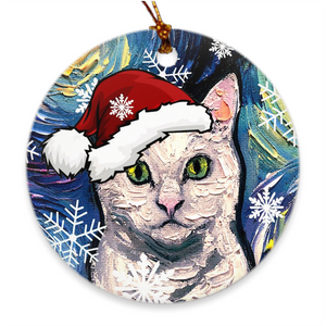 White Cat in Santa Hat Ornament