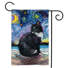 Load image into Gallery viewer, Tuxedo Cat Night 2 (Green Eyes) Yard Flags