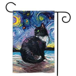 Tuxedo Cat Night 2 (Green Eyes) Yard Flags