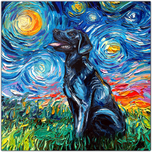 Black Labrador Night Metal Prints