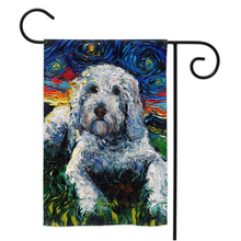 Load image into Gallery viewer, Goldendoodle Night, White, Yard Flags