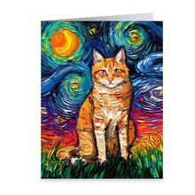 Load image into Gallery viewer, Orange Tabby Night Greeting Card
