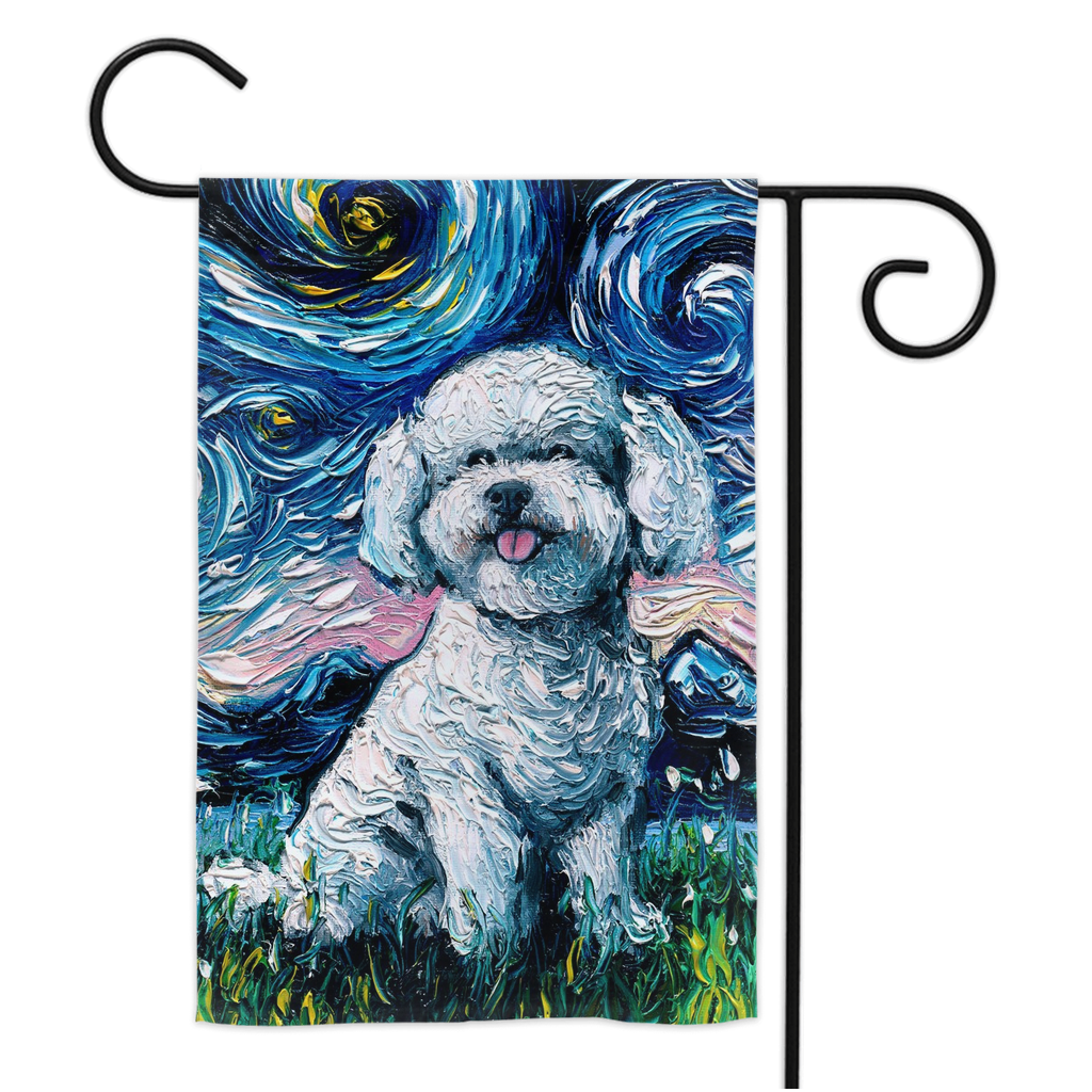 Bichon Frise Night Yard Flags