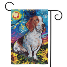 Load image into Gallery viewer, Bassett Hound with Sunflowers Yard Flags