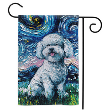Load image into Gallery viewer, Bichon Frise Night Yard Flags