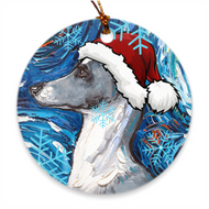 Whippet Night In Santa Hat Ornament