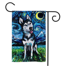 Load image into Gallery viewer, Husky Night, Happy, Yard Flags