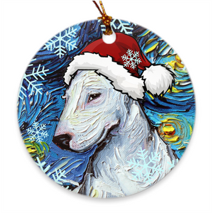 Bull Terrier In Santa Hat Ornament