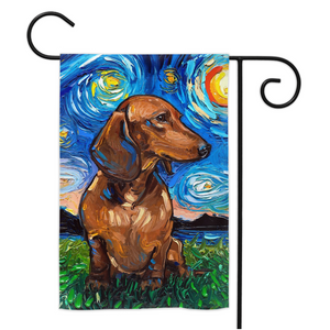 Dachshund Night, Brown Short Hair, Yard Flags