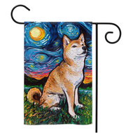 Shiba Inu Night, version 2, Yard Flags