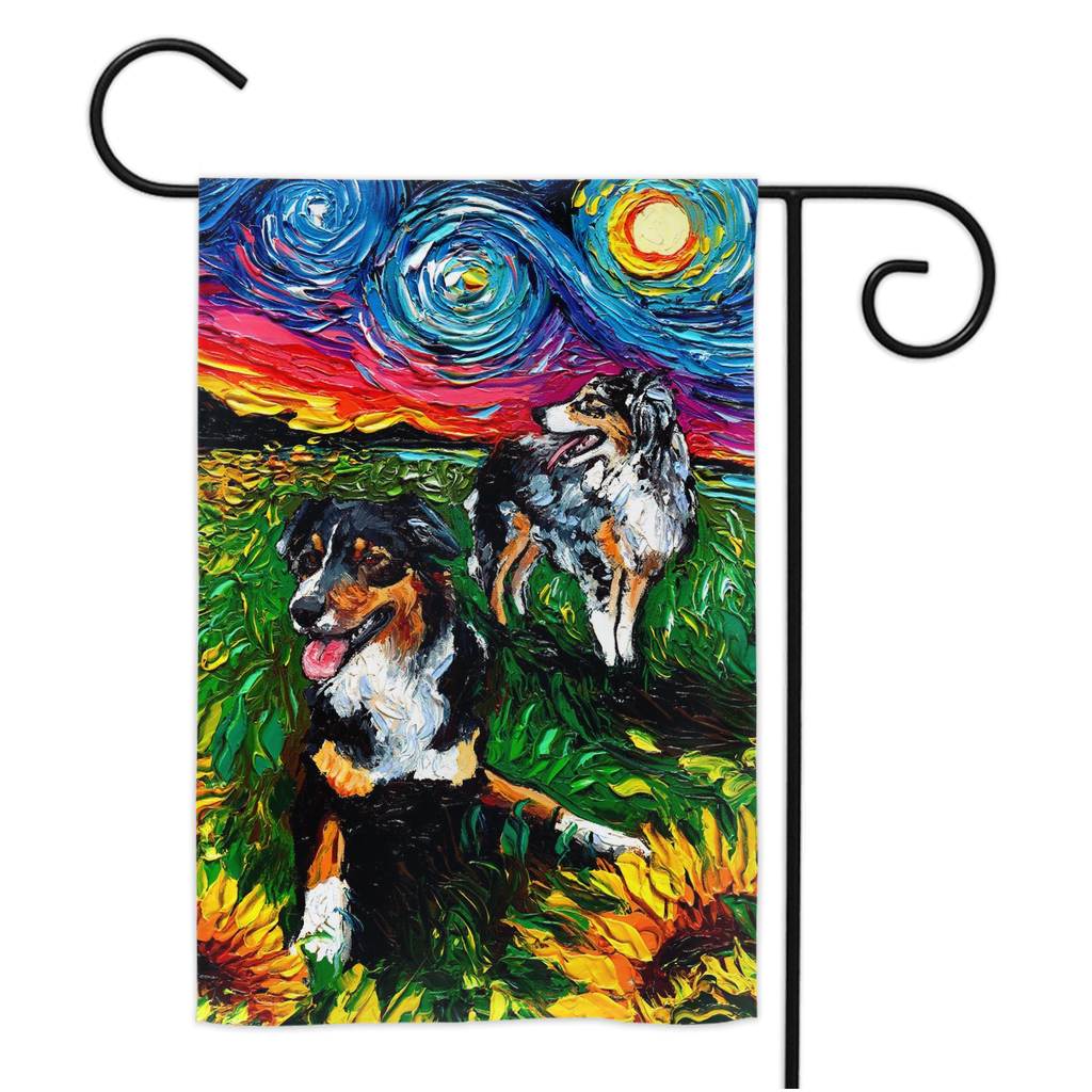 Australian Shepherds Night Yard Flags