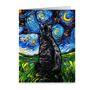 Gray Tabby Night Greeting Card