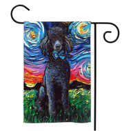 Poodle Night, Black, Yard Flags