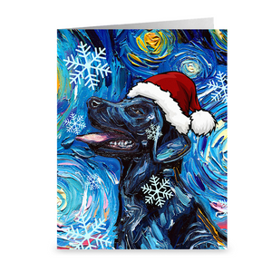 Black Labrador Night Christmas Greeting Card