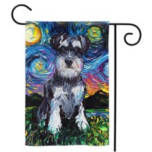 Load image into Gallery viewer, Schnauzer Night Yard Flags