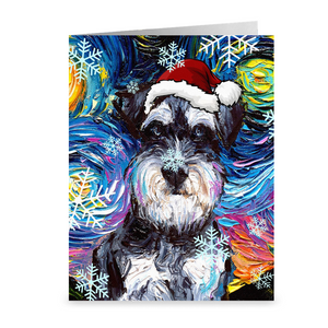 Schnauzer Night Christmas Greeting Card