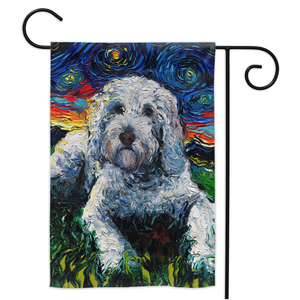 Goldendoodle Night, White, Yard Flags