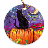 Black Cat and Pumpkins Halloween Ornament