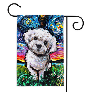 Maltipoo Night Yard Flags