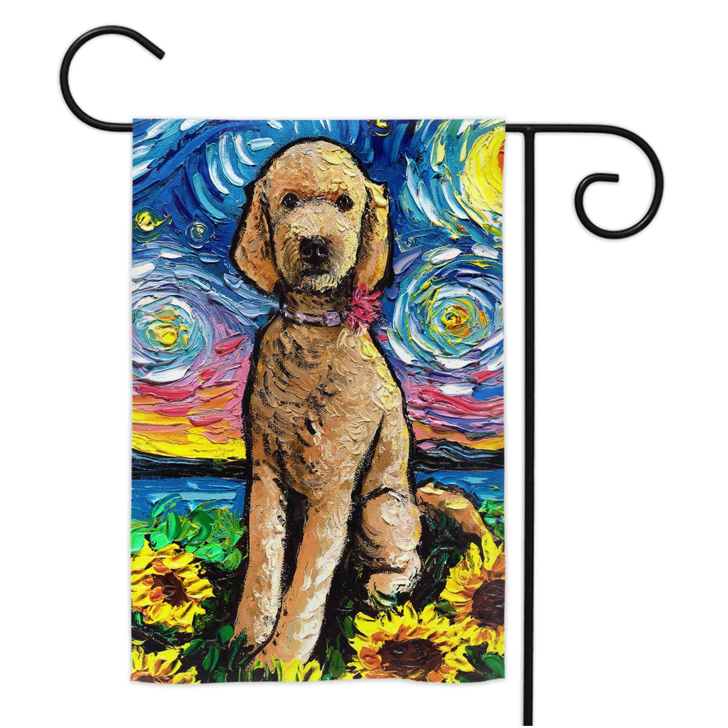 Goldendoodle Night with Sunflowers Yard Flags