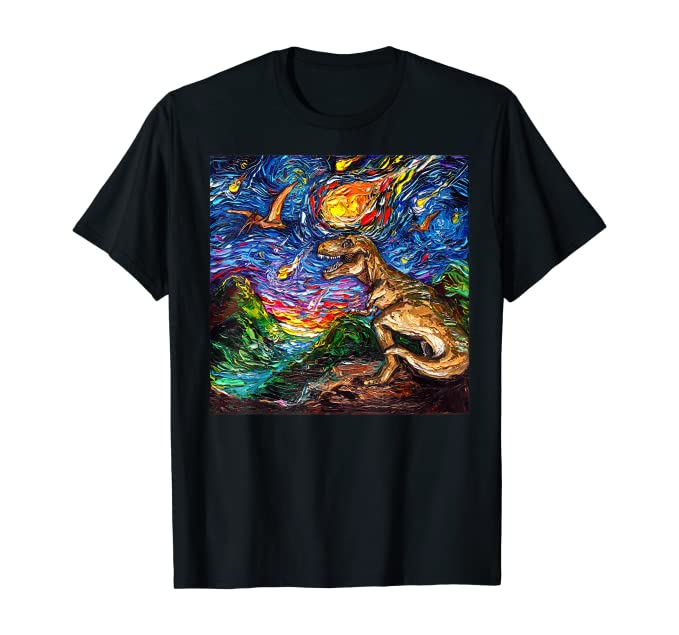 Jurassic Starry Night, Black T-Shirt, Men's Large