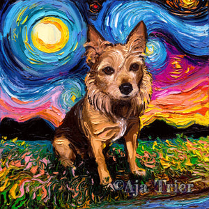 Australian Terrier Night Canvas Print