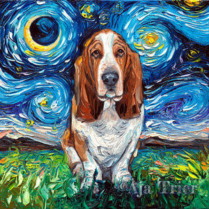 Basset Hound Night Canvas Print