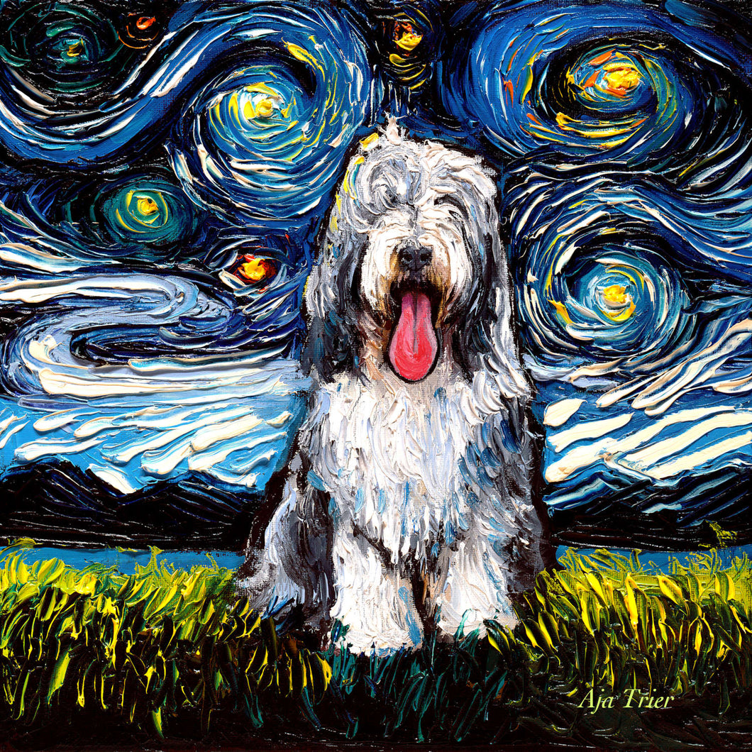 Bearded Collie Night, 12x12 Original Oil Painting