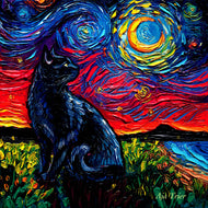 Black Cat Night 2 Canvas Print