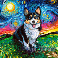 Tri Color Corgi Night Canvas Print
