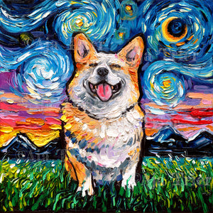 Corgi Night, Smiling Canvas Print
