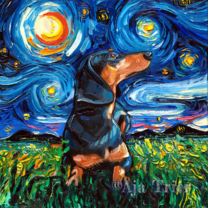 Dachshund Night, Black and Tan Short Hair Canvas Print