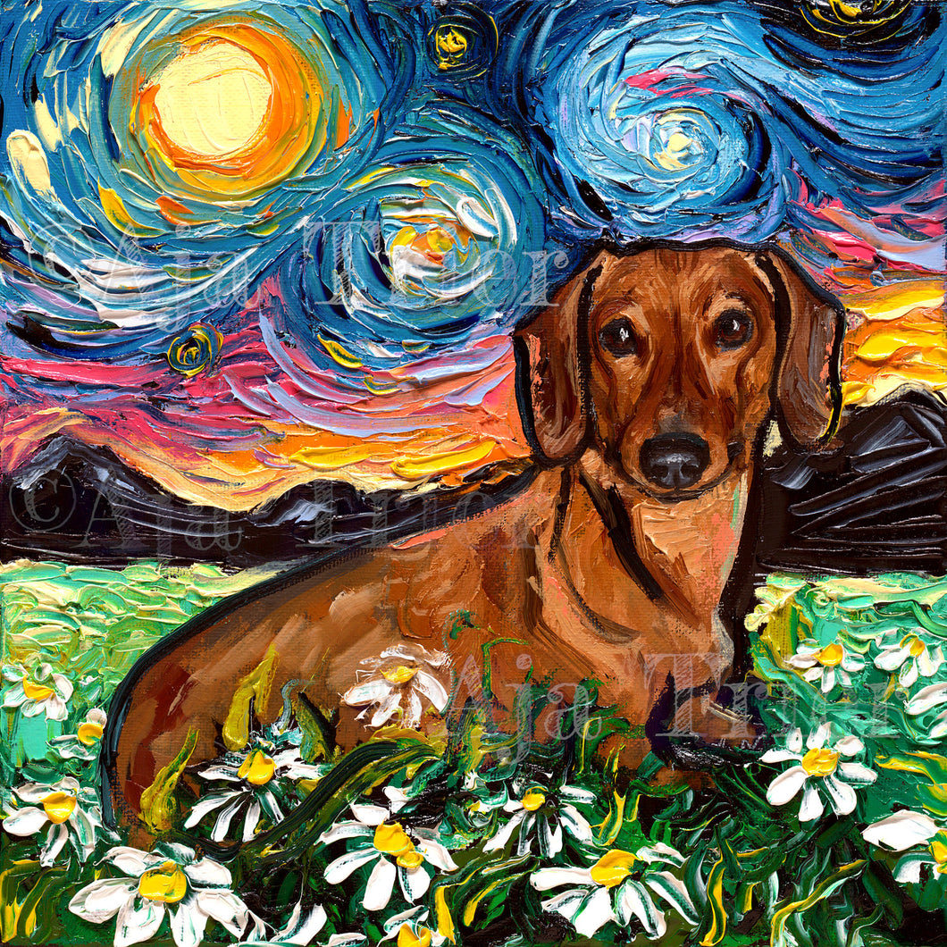 Dachshund with Flowers Starry Night Canvas Print