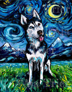 Husky Night, Happy Canvas Print