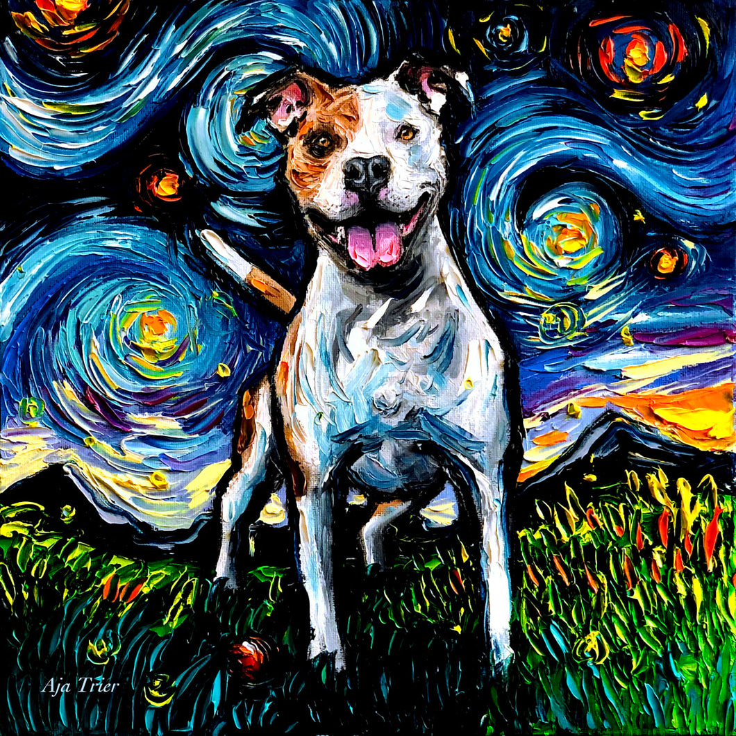 Pitbull Night, Happy 12x12 Original Oil Painting