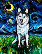 Husky Night 2 Canvas Print