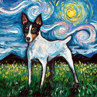 Toy Fox Terrier Night 12x12 Original Oil Painting