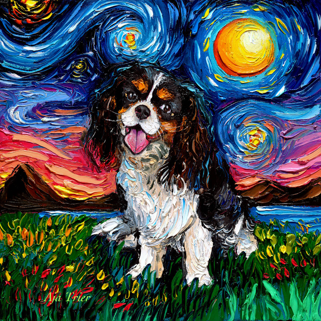 Cavalier King Charles Spaniel Night, Tri Color Canvas Print