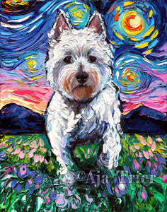 Westie Night 2 Canvas Print