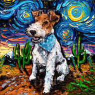 Wire Fox Terrier Night Canvas Print